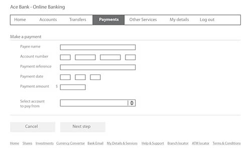 Fig 5. A typical online banking domestic payment form