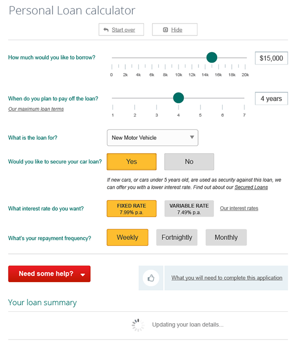 Personal loan calculator