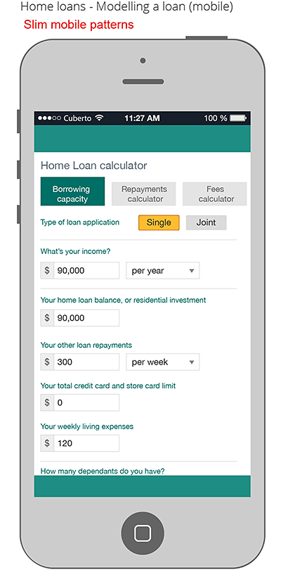Concept for home loan on mobile