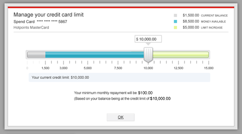 Manage credit card limit online