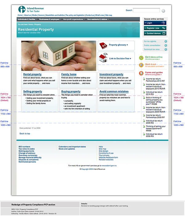 IRD property homepage wireframe